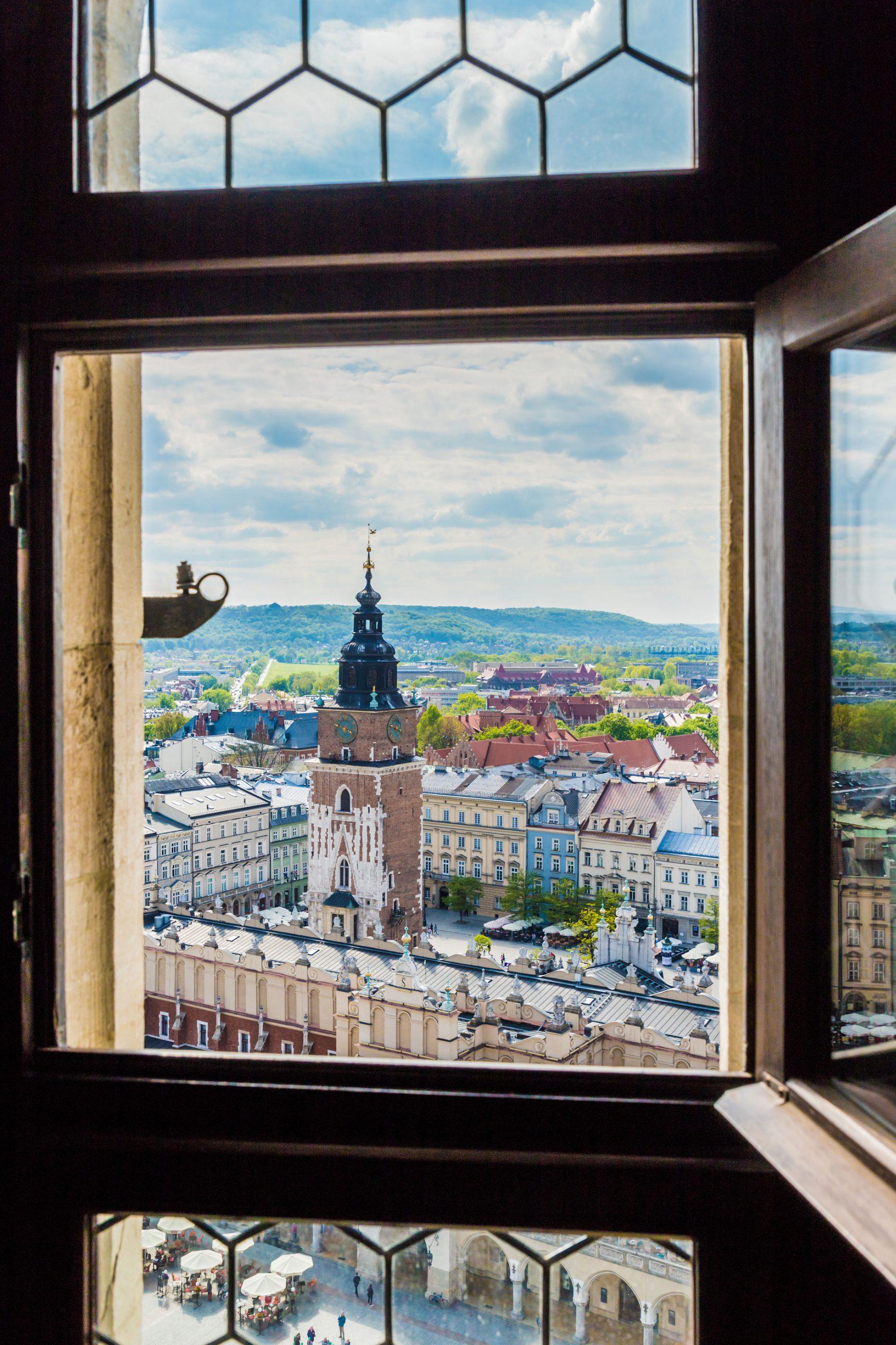 mariakirken Polen Krakow utsikt vindu tarn